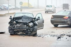 Automobile crash collision in urban street Royalty Free Stock Photo