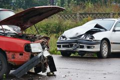 Automobile crash collision in urban street Royalty Free Stock Photography