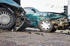 Automobile crash collision in urban street Royalty Free Stock Photos