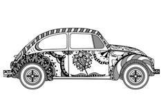 Automobile d'annata nello stile dello zentangle Fotografie Stock Libere da Diritti