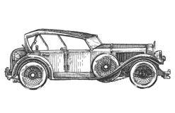 automobile d'annata su un fondo bianco abbozzo illustrazione di stock