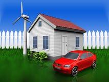 automobile 3d sopra erba ed il recinto illustrazione vettoriale