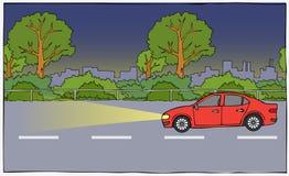 Automobile dal lato nella notte Fotografia Stock Libera da Diritti