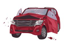 Automobile damaged by collision isolated on white background. Wrecked or crashed auto. Result of traffic or motor royalty free illustration