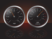 Automobile Dashboard Gauges. Auto Dashboard Gauges with Reflections - Illustration Royalty Free Illustration