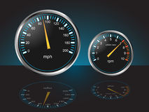 Automobile Dashboard Gauges. Auto Dashboard Gauges with Reflections - Illustration Stock Photography