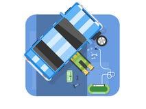 Automobile de Lying Down Under de mécanicien, voiture de réparations dans le garage Photo stock