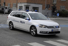 AUTOMOBILE DE POLICE DE DENMARK_DANISH Photographie stock libre de droits