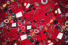Automobile dei pezzi di ricambio sui precedenti rossi Fotografie Stock Libere da Diritti