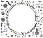Automobile dei pezzi di ricambio sull'insieme bianco del fondo Immagine Stock