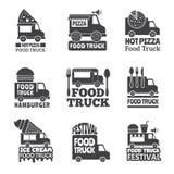 Automobile del camion dell'alimento Distintivi del furgone mobile veloce di consegna della via o logo monocromatici d'approvvigio royalty illustrazione gratis