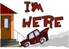 Automobile del fumetto che arriva alla porta che segnala il ` del ` m. del ` I qui illustrazione di stock