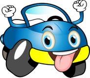 Automobile del fumetto colorata blu divertente Fotografia Stock Libera da Diritti