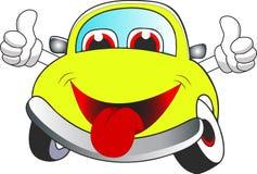 Automobile del fumetto colorata giallo divertente immagine stock libera da diritti