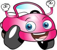 Automobile del fumetto colorata rosa divertente Immagine Stock