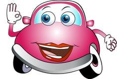 Automobile del fumetto colorata rosa divertente immagini stock libere da diritti