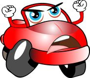 Automobile del fumetto colorata rosso divertente immagine stock