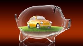 Automobile del fumetto dentro il porcellino salvadanaio trasparente rappresentazione 3d Immagini Stock Libere da Diritti