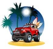 Automobile del fumetto 4x4 di vettore sulla spiaggia royalty illustrazione gratis
