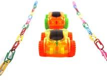 Automobile del giocattolo sul modo Fotografia Stock Libera da Diritti