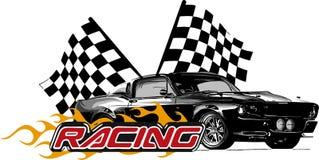Automobile del muscolo dell'illustrazione di vettore con le fiamme e la bandiera della corsa illustrazione vettoriale