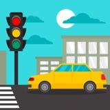 Automobile del taxi al fondo di concetto di attraversamento, stile piano illustrazione vettoriale