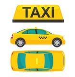 Automobile del taxi Cima e lato di vista Illustrazione disegnata piana Isolato su priorità bassa bianca Fotografia Stock