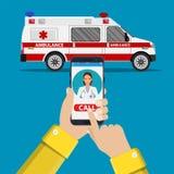 Automobile dell'ambulanza di chiamata tramite telefono cellulare, Immagine Stock Libera da Diritti