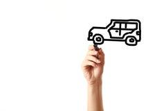 Automobile dell'annata dell'illustrazione della mano con l'indicatore nero Fotografia Stock Libera da Diritti