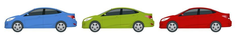 Automobile della berlina Veicolo ibrido compatto Auto ecologica di ciao-tecnologia Automobile isolata, modello per marcare a cald Fotografia Stock