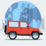 Automobile della jeep dell'illustrazione di vettore sul fondo della città illustrazione di stock