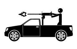 Automobile della raccolta del terrorista con la mitragliatrice ed il terrorista Immagini Stock