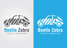 Automobile dello scarabeo con una struttura della zebra Combinazione perfetta Fotografia Stock