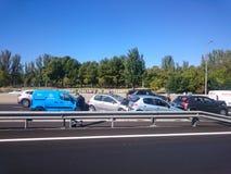 Automobile di arresto a Madrid, il 16 ottobre 2018 fotografia stock