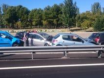Automobile di arresto a Madrid, il 16 ottobre 2018 fotografia stock libera da diritti