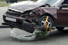 Automobile di arresto sul luogo dell'incidente Fotografia Stock Libera da Diritti