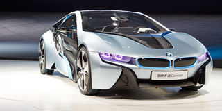 Automobile di concetto di BMW i8 Fotografia Stock