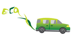 Automobile di Eco con fumo che fa la parola ECO Fotografia Stock