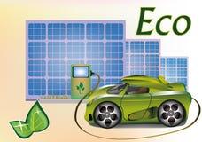 Automobile di ecologia dell'insegna, pannelli solari. Immagini Stock