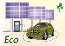 Automobile di ecologia, pannelli solari. Fotografia Stock