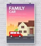Automobile di famiglia con il concetto dell'illustrazione della casa della casa sul fondo del muro di mattoni Fotografie Stock Libere da Diritti