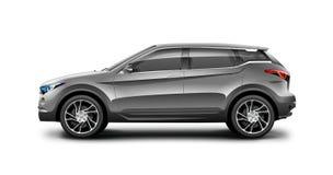 Automobile di Grey Generic SUV su fondo bianco Vista laterale con il percorso isolato illustrazione di stock