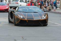 Automobile di Lamborghini Aventador su esposizione fotografia stock libera da diritti