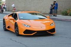 Automobile di Lamborghini Huracan su esposizione immagini stock