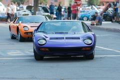 Automobile di Lamborghini Miura su esposizione fotografie stock