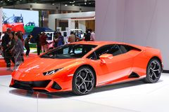 Automobile di Lamborghini presentata al quarantesimo salone dell'automobile internazionale della Tailandia fotografia stock
