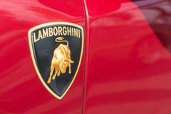 Automobile di logo di Lamborghini su esposizione fotografia stock