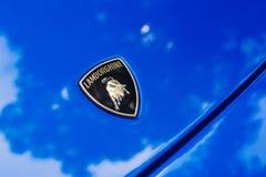 Automobile di logo di Lamborghini su esposizione fotografia stock libera da diritti