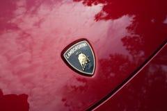 Automobile di logo di Lamborghini su esposizione Immagine Stock Libera da Diritti