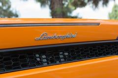 Automobile di logo di Lamborghini su esposizione immagini stock